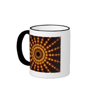 Yellow & black shooting star fractal design coffee mugs