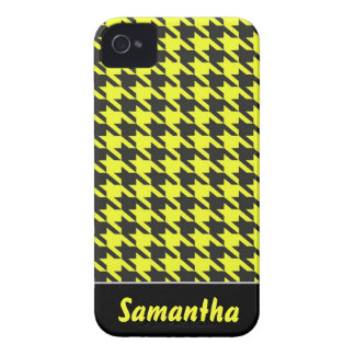 Yellow & Black Small Houndstooth w/ Custom Name iPhone 4 Cover