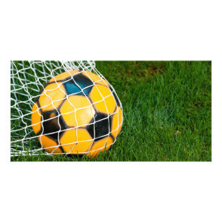 Yellow & Black Soccer Ball in Net Card