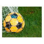"Yellow & Black Soccer Ball in Net 4.25"" X 5.5"" Invitation Card"