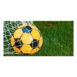 Yellow & Black Soccer Ball in Net Customized Photo Card
