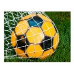 Yellow & Black Soccer Ball in Net Postcard