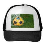 Yellow & Black Soccer Ball in Net Trucker Hat