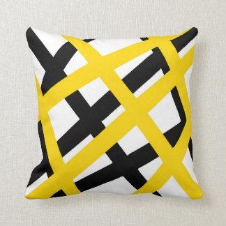 Yellow Black Stripe Geometric Throw Pillow