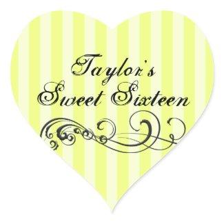 Yellow/Black Stripe Sweet Sixteen Envelope Sticker sticker