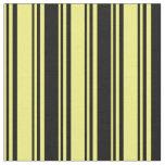 [ Thumbnail: Yellow & Black Striped Pattern Fabric ]