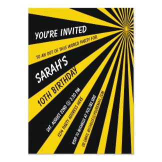 Yellow Black Sun Beams Birthday Party Invitation