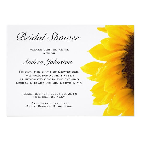 yellow black sunflower bridal shower invitation