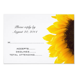 Yellow Black Sunflower Wedding RSVP Cards Announcements