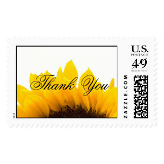 Yellow Black Sunflower Wedding Thank You Postage
