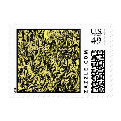 Yellow & Black Swirl Postage