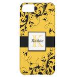 Yellow Black Swirls Initial iPhone 5 Case-Mate