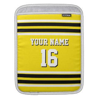 Yellow Black Team Jersey Custom Number Name iPad Sleeve