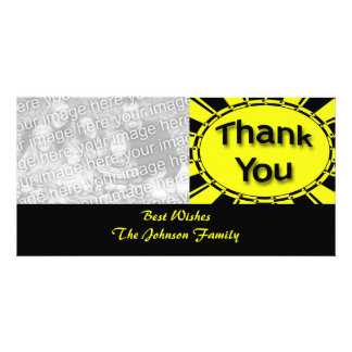 yellow black Thank you Personalized Photo Card