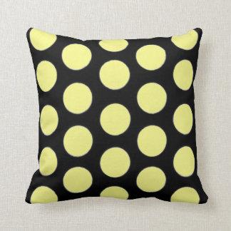 Yellow black  Throw pillow polka dot