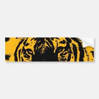 Yellow Black Tiger Eyes Pop Art Bumper Sticker