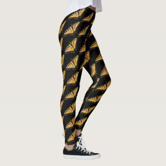 Yellow Black Tiger Swallowtail Butterfly Leggings