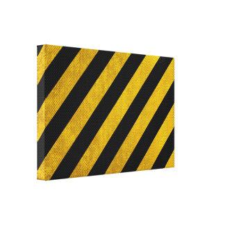 Yellow Black Traffic Stripes Large Canvas Print