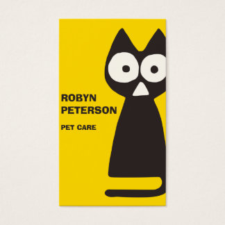 Yellow Black Triangle Symbolic Cat Business Card
