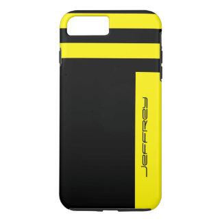 Yellow & Black Two Way Stripe Custom Name Tough iPhone 7 Plus Case