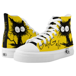 Yellow Black Unkempt Kitten GabiGabi High-Top Sneakers