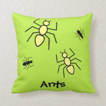 Yellow & Black Vector Ants -Grass Green Background Throw Pillow