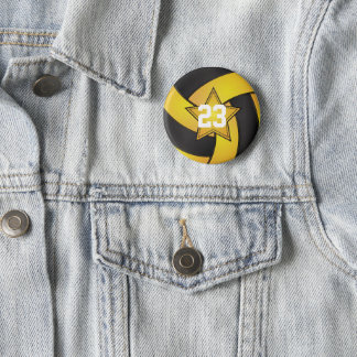 Yellow & Black Volleyball Star Players Pinback Button