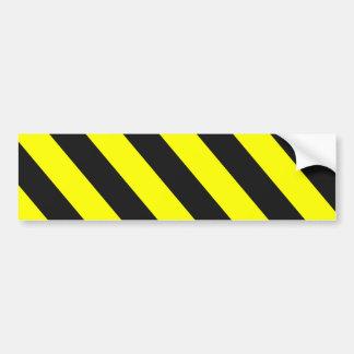 Yellow Black Warning Stripes Car Bumper Sticker