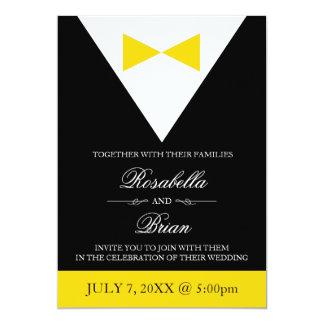 Yellow & Black Wedding Invitations | Tux & Dress