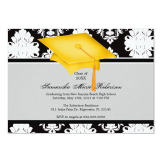Yellow, Black, White, Custom Graduation Invitation