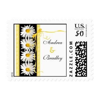 Yellow Black White Daisies Wedding Postage