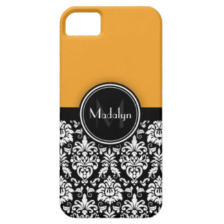 Yellow Black White Damask Monogram Letter iPhone 5 Covers