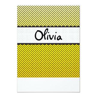 Yellow Black White Dots Scallops Personalized Name Card