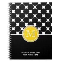 Yellow Black White Monogram Notebook