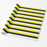Yellow Black White Stripes Wrapping Paper