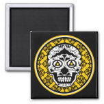 Yellow black white sugar skull damask fridge magnet