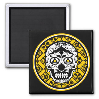 Yellow black white sugar skull damask magnet
