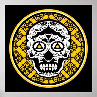 Yellow black white sugar skull damask poster