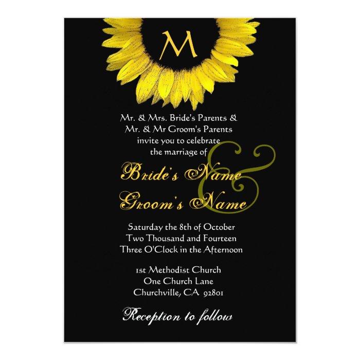 yellow black white sunflower wedding invitation zazzle With black and white sunflower wedding invitations