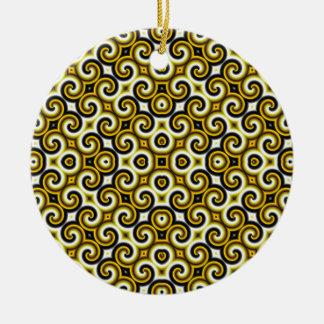 Yellow Black White Waves Big Ornaments