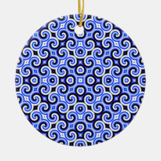Yellow Black White Waves Inverted Big Ornaments