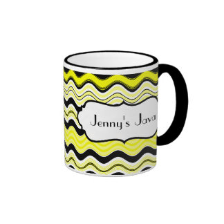 Yellow, Black, White Wavy Stripes Personalized Mug