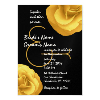 Yellow Black White Wedding Roses Template 5x7 Paper Invitation Card