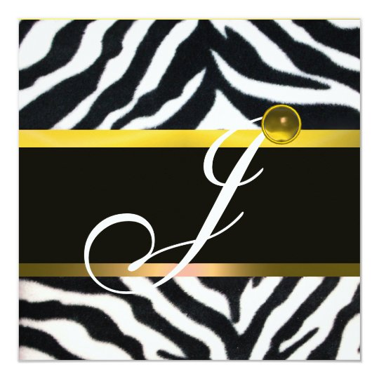 YELLOW BLACK WHITE ZEBRA FUR MONOGRAM,Topaz Card