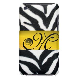 YELLOW BLACK WHITE ZEBRA FUR MONOGRAM,Topaz iPod Case-Mate Case