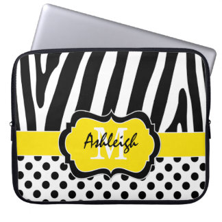 Yellow Black Zebra Stripes Polka Dots Laptop Case Laptop Sleeve