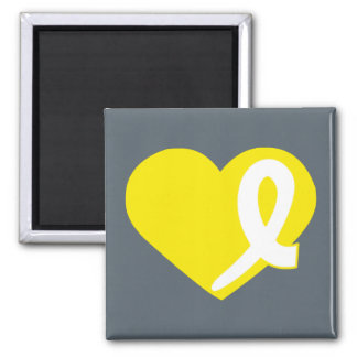 Yellow Bladder Cancer Heart ribbon square magnet