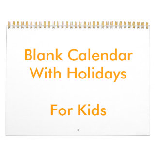 Yellow Blank Calendar With Holidays For Kids