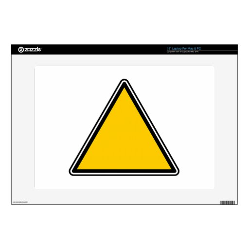 """Yellow Blank Sign Skin For 15"""" Laptop"""