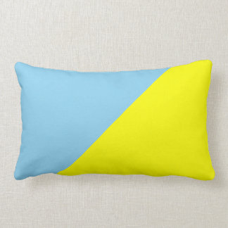 Yellow & Blizzard Blue Solid Color Background Throw Pillow